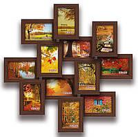 Мультирамка-коллаж Изумруд на 12 фотографий 10х15 коричневая  премиум