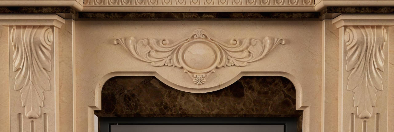Портал для камина (облицовка) Барселона из натурального мрамора Crema Marfil + Emperador Dark, фото 2