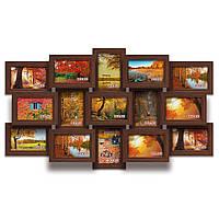Мультирамка-коллаж Елизавета на 15 фотографий 10х15 коричневая  премиум