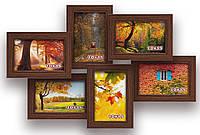 Мультирамка-коллаж Ретро на 6 фотографий 10х15 коричневая  премиум