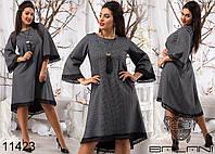 Женское ассиметричное платье с рукавами колокол  размер  50-56