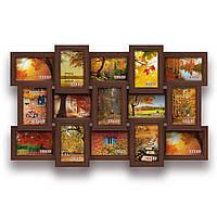 Мультирамка-коллаж Классическая на 15 фотографий 10х15 коричневая  премиум