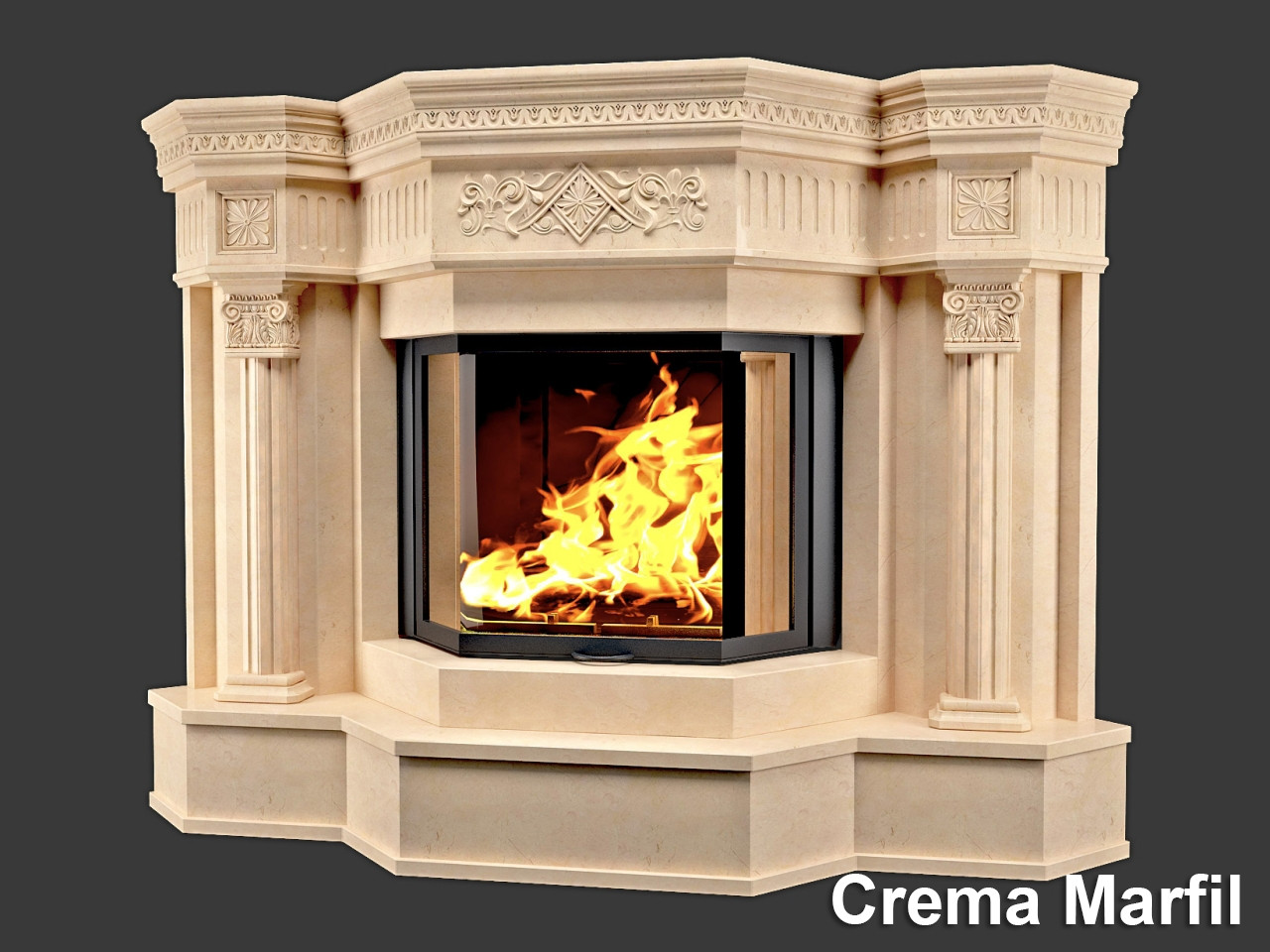 Портал для камина (облицовка) София из натурального мрамора Crema Marfil