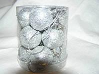 Набор шаров на елку 3см, 12 шт., серебро