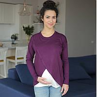 Топ футболка с запáхом для беременных и кормящих - Баклажан C удобным реглан секретом, для доступа к, фото 1