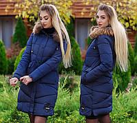 """Женское зимнее пальто холлофайбер в больших размерах """"Хром"""" в расцветках  (DG-д1668.1)"""