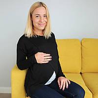Топ футболка с запáхом для беременных и кормящих - Черный C удобным реглан секретом, для доступа к, фото 1