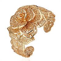 Позолоченный женский браслет бижутерия Цветы Шикарная роза 166826