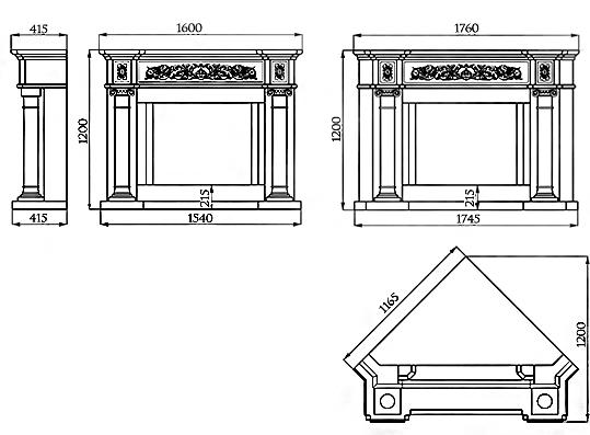 Портал для камина (облицовка) Континенталь из натурального мрамора Botticino, фото 2