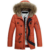 Мужская зимняя удлинённая куртка парка пуховик JEEP, оранжевый! РАЗМЕР XL-XXXL