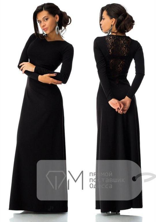 Красивое чёрное платье в пол