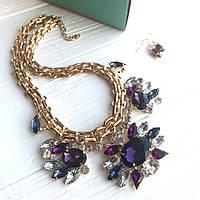 Набор украшений Колье и серьги Miracle фиолетовое, бижутерия