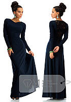 Красивое платье в пол с дорогим набивным гипюром синее