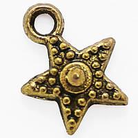 Кулон Звезда, Металл, Цвет: Античное Золото, Размер: 12.5х10х2.5мм, Отверстие 2мм, (УТ000006687)