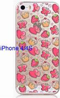 Прозрачный силиконовый чехол клубничка+сердечка для iphone 4/4S