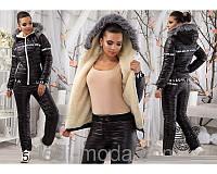 Женский спортивный зимний лыжный костюм-дутик на синтепоне, черный. Арт-650