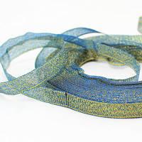 Лента Атласная с Блестками, Цвет: Зеленый, Ширина: 10мм, около 22м/катушка, (УТ000005872)