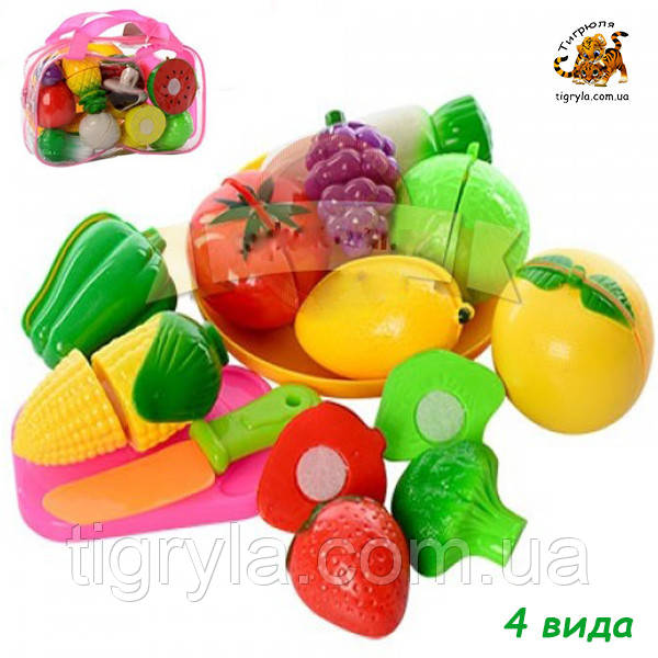 Разрезные овощи и фрукты, продукты на липучках в сумке - пластмассовые продукты на липуске