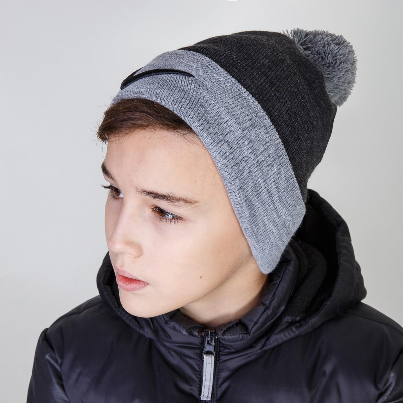 Спортивная зимняя шапка для мальчика с помпоном Nike (реплика) оптом - Артикул 2885