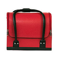 Бьюти-кейс для косметики, красный с черными ручками