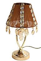 Настольная лампа классическая SVLIGHT с хрусталем 51280 золото+коричневый+янтарь