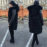 """Куртка-трансформер с мехом финского песца и кожаными рукавами """"Melanie"""", размеры в наличии"""