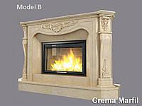 Портал для камина (облицовка) Фантазия из натурального мрамора Crema Marfil