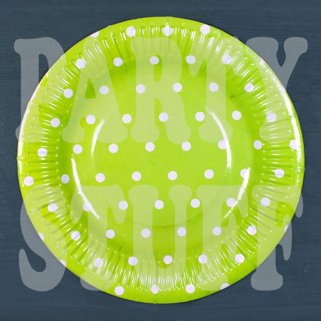 картонные тарелки зеленые в горошек