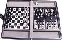 Набор настольных игр 3 в 1: шахматы, шашки, нарды в кожаном кейсе Duke SG1150