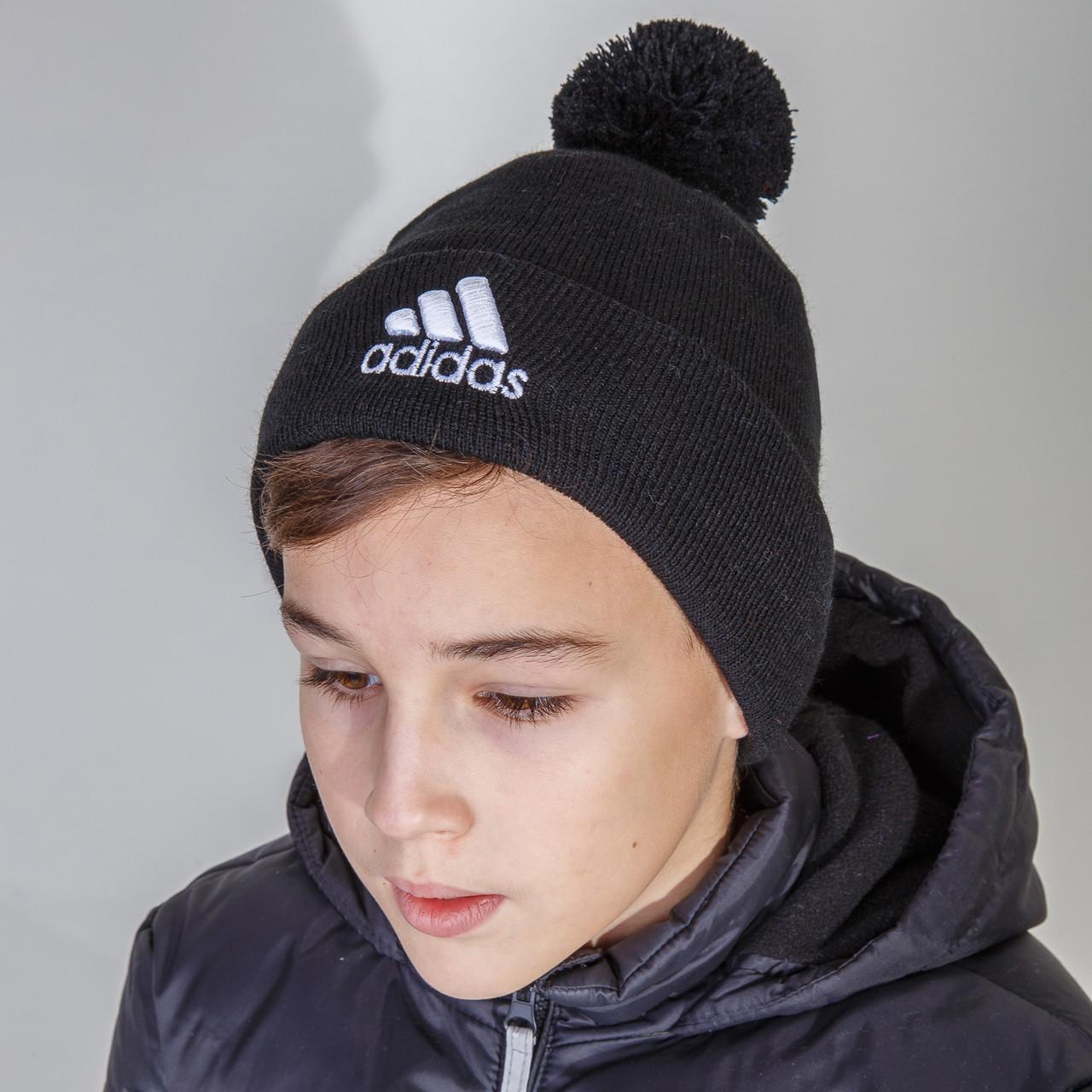 Стильная шапка на зиму для мальчика с помпоном Adidas (реплика) оптом - Артикул 2848