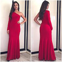Вечернее платье в пол с одним рукавом расклешенное к низу красное