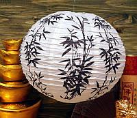 """Фонарь бумажный шар с рисунком """"Чёрный бамбук"""""""