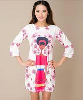 Винтажное платье мини с принтом (вискоза)