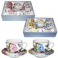 023-12-03 Сервиз чайный 12пр. Цветы Микс2 (чашка-220мл, блюдце-13,5см)