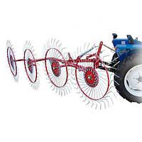 Грабли-ворошилки тракторные Заря (Украина, 4 секции, оцинкованная польская спица, на квадратной трубе)