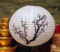 "Фонарь бумажный шар с рисунком ""Розовая сакура"""