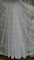 Фатин белый с вышивкой №30473
