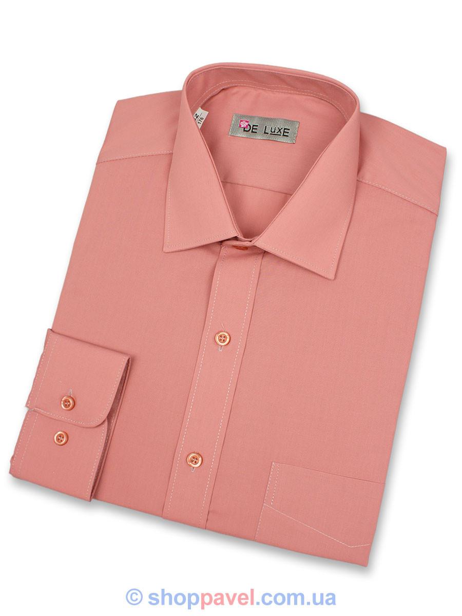 Мужская классическая рубашка De Luxe 213D пюсовая (длинный рукав)