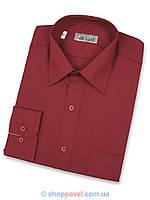 Мужская классическая рубашка De Luxe 211D вишневая (длинный рукав)