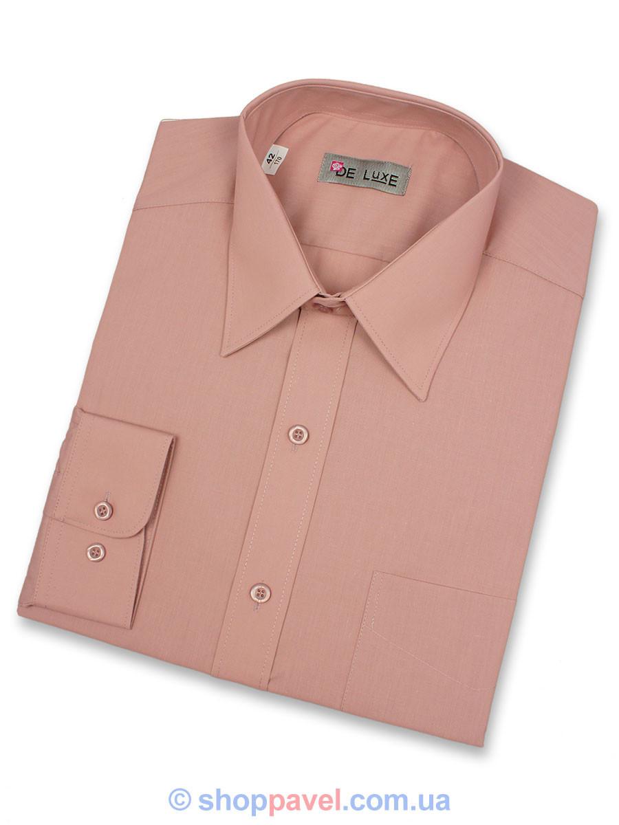 Мужская классическая рубашка De Luxe 212D светло-коричневая (длинный рукав)