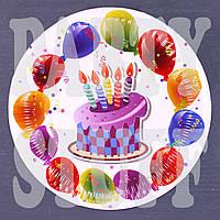 Тарелки из бумаги детские торт и свечи 18 см, 10 шт