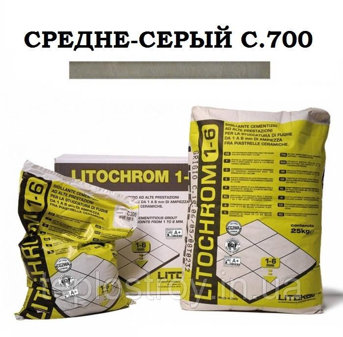Затирка Litokol Litochrom 1-6 C.700 средне-серый, 5 кг