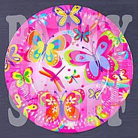 Бумажная тарелка праздничная Бабочки 18 см, 10 шт