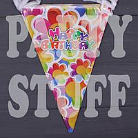 Гирлянда бумажная Happy Birthday, Цветы, фото 1