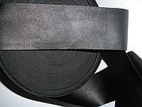 Тесьма из экокожи 5 см ширина, чёрная
