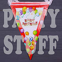 Бумажная гирлянда Happy Birthday, Красная