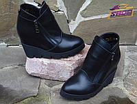 Черные зимние женские кожаные ботинки на танкетке Paolo Gianni на меху ( шерсть )