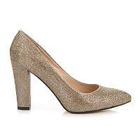Женские золотистые туфли на квадратном каблуке