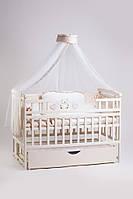 Детская кроватка Детский Сон Лодочка на маятнике с ящиком