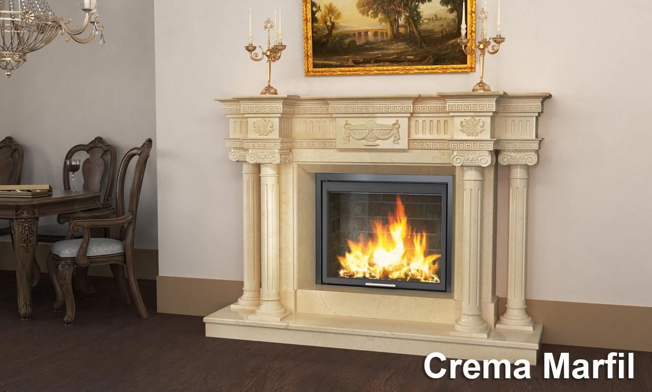 Портал для камина (облицовка) Вашингтон из натурального мрамора Crema Marfil